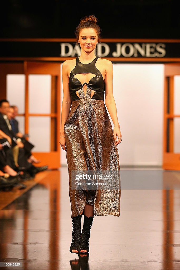 Miranda Kerr showcases designs by Willow on the runway during the David Jones A/W 2013 Season Launch at David Jones Castlereagh Street on February 6, 2013 in Sydney, Australia.