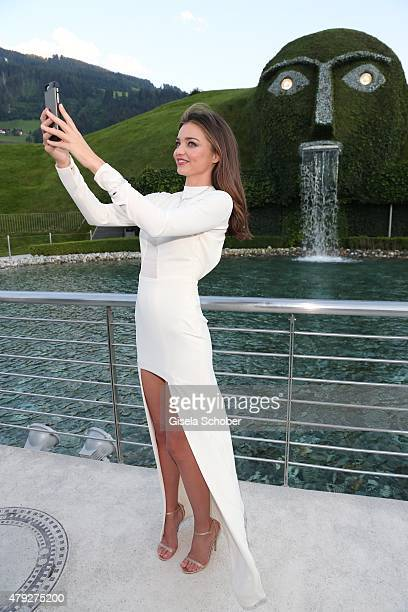 Miranda Kerr Swarovski Ambassador during the Swarovski new collection launch event on July 2 2015 in Wattens Austria