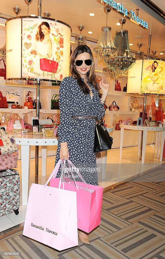 Miranda Kerr visits Samantha Thavasa shop at Narita International Airport on November 14, 2013 in Narita, Japan.