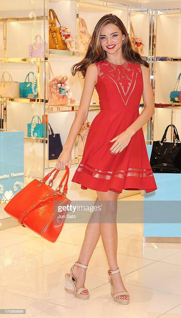 Miranda Kerr visits the Samantha Thavasa Store on June 12, 2013 in Seoul, South Korea.