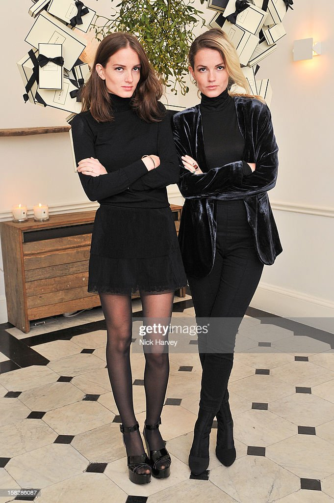 Miranda Kilbey and Elektra Kilbey of Saint Lou Lou attend Jo Malone's Thoroughly Proper Party at Jo Malone London, Gloucester Place on December 12, 2012 in London, England.