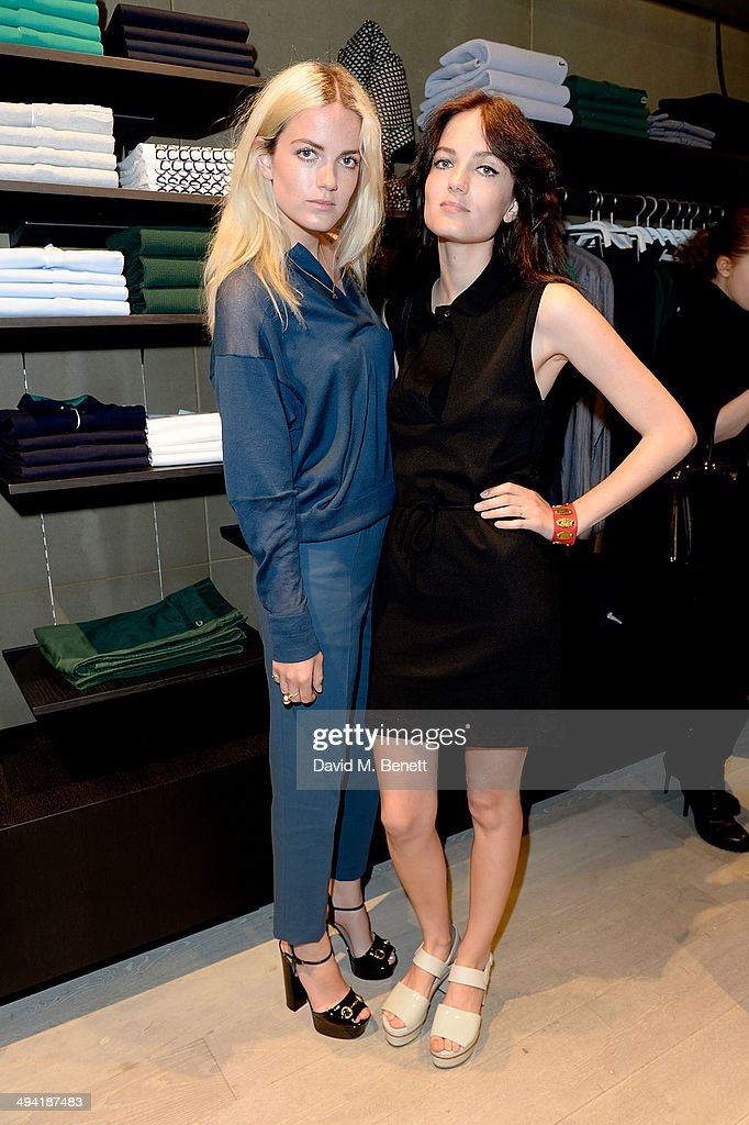 Miranda Kilbey and Elektra Kilbey of Say Lou Lou attend the Lacoste Store Reopening on May 28, 2014 in London, England.