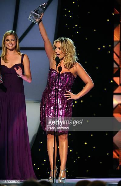 Miranda Lambert accepts award for Female Vocalist of the Year at the 45th annual CMA Awards at the Bridgestone Arena on November 9 2011 in Nashville...