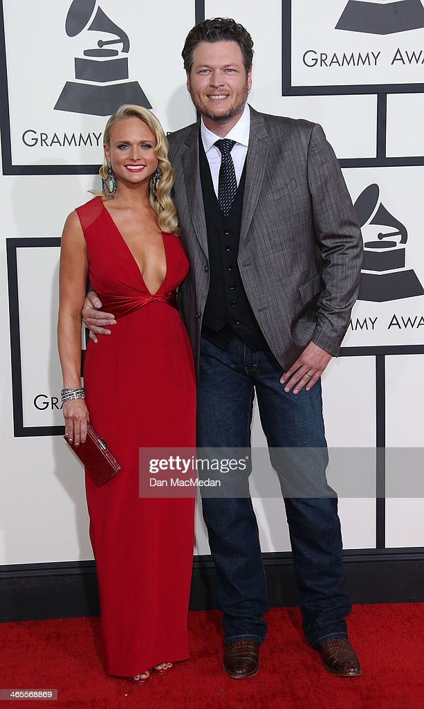 Miranda Lambert and Blake Shelton arrive at the 56th Annual GRAMMY Awards at Staples Center on January 26, 2014 in Los Angeles, California.