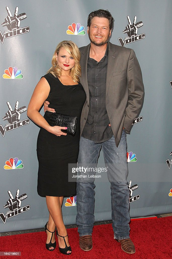 <a gi-track='captionPersonalityLinkClicked' href=/galleries/search?phrase=Miranda+Lambert&family=editorial&specificpeople=571972 ng-click='$event.stopPropagation()'>Miranda Lambert</a> and <a gi-track='captionPersonalityLinkClicked' href=/galleries/search?phrase=Blake+Shelton&family=editorial&specificpeople=2352026 ng-click='$event.stopPropagation()'>Blake Shelton</a> attend the NBC's 'The Voice' Season 4 Premiere at TCL Chinese Theatre on March 20, 2013 in Hollywood, California.