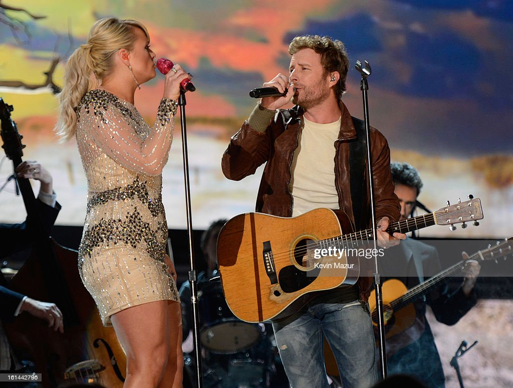 Miranda Lambert and Dierks Bentley perform onstage during the 55th Annual GRAMMY Awards at STAPLES Center on February 10, 2013 in Los Angeles, California.