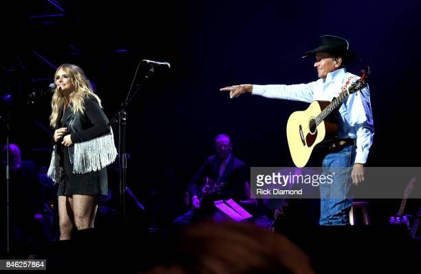 Miranda Lambert and George Strait perform onstage during George Strait's Hand in Hand Texas benefit concert Strait and special guests Miranda Lambert...