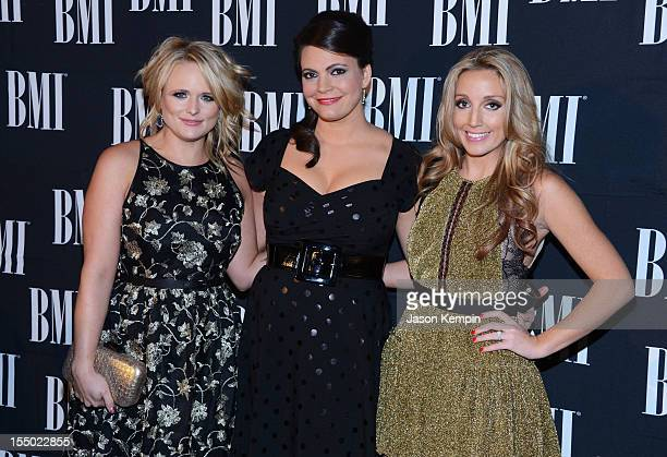 Miranda Lambert Ashley Monroe and Angaleena Presley of Pistol Annies attend the 60th Annual BMI Country Awards at BMI on October 30 2012 in Nashville...