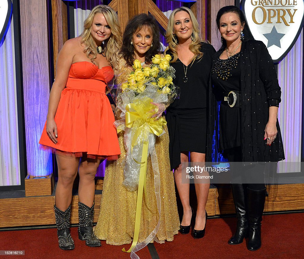 <a gi-track='captionPersonalityLinkClicked' href=/galleries/search?phrase=Miranda+Lambert&family=editorial&specificpeople=571972 ng-click='$event.stopPropagation()'>Miranda Lambert</a>, <a gi-track='captionPersonalityLinkClicked' href=/galleries/search?phrase=Loretta+Lynn&family=editorial&specificpeople=213139 ng-click='$event.stopPropagation()'>Loretta Lynn</a>, <a gi-track='captionPersonalityLinkClicked' href=/galleries/search?phrase=Lee+Ann+Womack&family=editorial&specificpeople=706318 ng-click='$event.stopPropagation()'>Lee Ann Womack</a> and <a gi-track='captionPersonalityLinkClicked' href=/galleries/search?phrase=Crystal+Gayle&family=editorial&specificpeople=1537366 ng-click='$event.stopPropagation()'>Crystal Gayle</a> attends the press conference for the celebration of <a gi-track='captionPersonalityLinkClicked' href=/galleries/search?phrase=Loretta+Lynn&family=editorial&specificpeople=213139 ng-click='$event.stopPropagation()'>Loretta Lynn</a>'s 50th Opry Anniversary at The Grand Ole Opry on September 25, 2012 in Nashville, Tennessee.