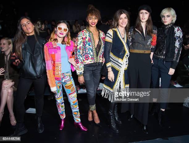 Miranda Makaroff Berta Vazquez Elisa Sednaoui Dellal Anna Cleveland and Julia Cumming attend the Desigual show during February 2017 New York Fashion...