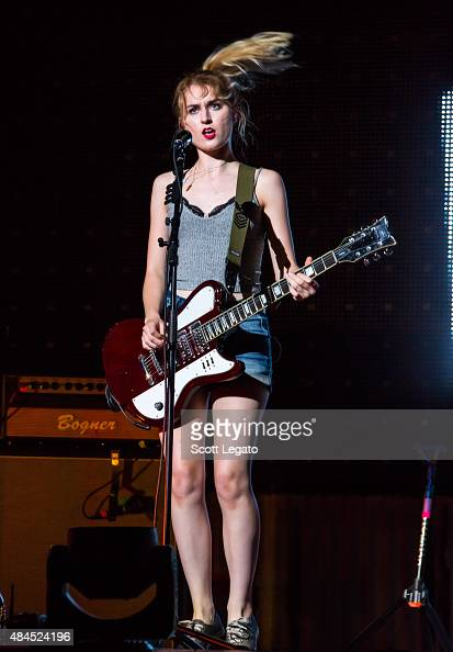Miranda Miller of Hey Violet performs during the Rock Out With Your Sock Out tour at The Palace of Auburn Hills on August 19 2015 in Auburn Hills...