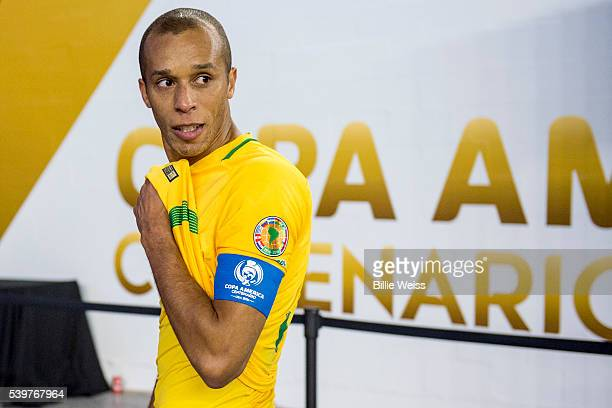 Miranda of Brazil looks dejected after a group B match between Brazil and Peru at Gillette Stadium as part of Copa America Centenario US 2016 on June...