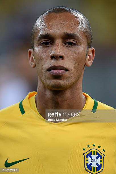 Miranda of Brazil looks on during a match between Brazil and Uruguay as part of 2018 FIFA World Cup Russia Qualifiers at Arena Pernanbuco on March 25...