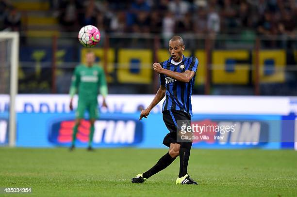 Miranda of FC Internazionale in action during the Serie A match between FC Internazionale Milano and Atalanta BC at Stadio Giuseppe Meazza on August...