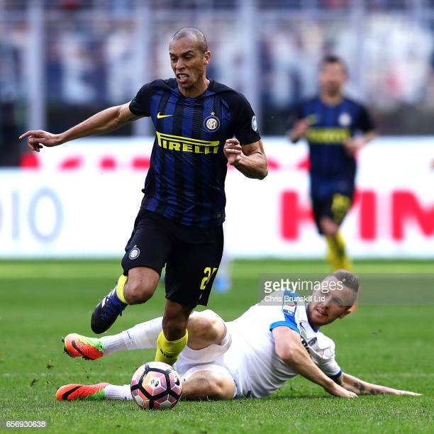 Miranda of FC Internazionale in action with Elvin Zukanovic of Atalanta BC during the Serie A match between FC Internazionale and Atalanta BC at...