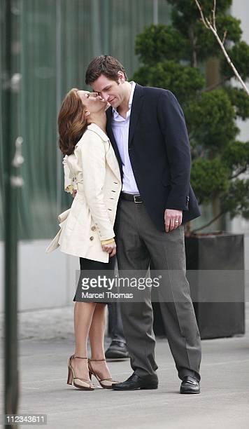 Miranda Otto and Julian Ovendin during Miranda Otto and Julian Ovendin Sighting on Location Shooting Their TV Series 'Cashmere Mafia' in New York...