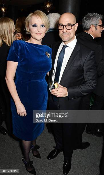 Miranda Richardson winner of the Dilys Powell Award for Excellence In Film and Stanley Tucci attend an after party following The Critics' Circle Film...
