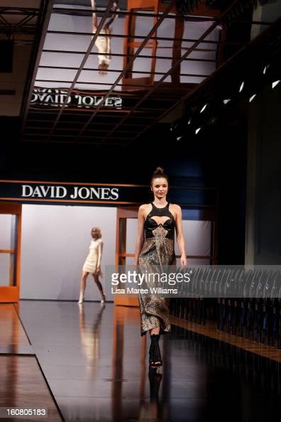 Miranda showcases designs by Willow during rehearsal ahead of the David Jones A/W 2013 Season Launch at David Jones Castlereagh Street on February 6...
