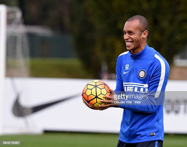 Miranda smiles during a FC Internazionale training session at the club's training ground at Appiano Gentile on October 29 2015 in Como Italy