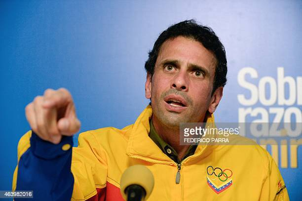 Miranda state governor and opposition leader Henrique Capriles speaks during a press conference in Caracas on February 20 2015 The United States and...