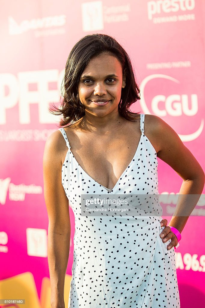 <a gi-track='captionPersonalityLinkClicked' href=/galleries/search?phrase=Miranda+Tapsell&family=editorial&specificpeople=4385418 ng-click='$event.stopPropagation()'>Miranda Tapsell</a> arrives at Tropfest at Centennial Park on February 14, 2016 in Sydney, Australia.