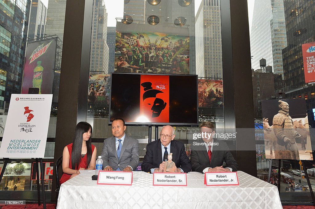 Miranda Xu, Director of Operations, Nederlander Worldwide Entertainment; Wang Yong, President, Qinhuang Grand Theater Performing Art Co, Ltd; Robert Nederlander, Sr., Chairman, Nederlander Worldwide Entertainment and Bob Nederlander, Jr., President & CEO, Nederlander Worlwide Entertainment attend the announcement of a new spectacular entertainment and travel destination in China located in Xi'An on site of the legendary Terra Cotta Warriors & Horses, at Minskoff Theatre on August 28, 2013 in New York City.