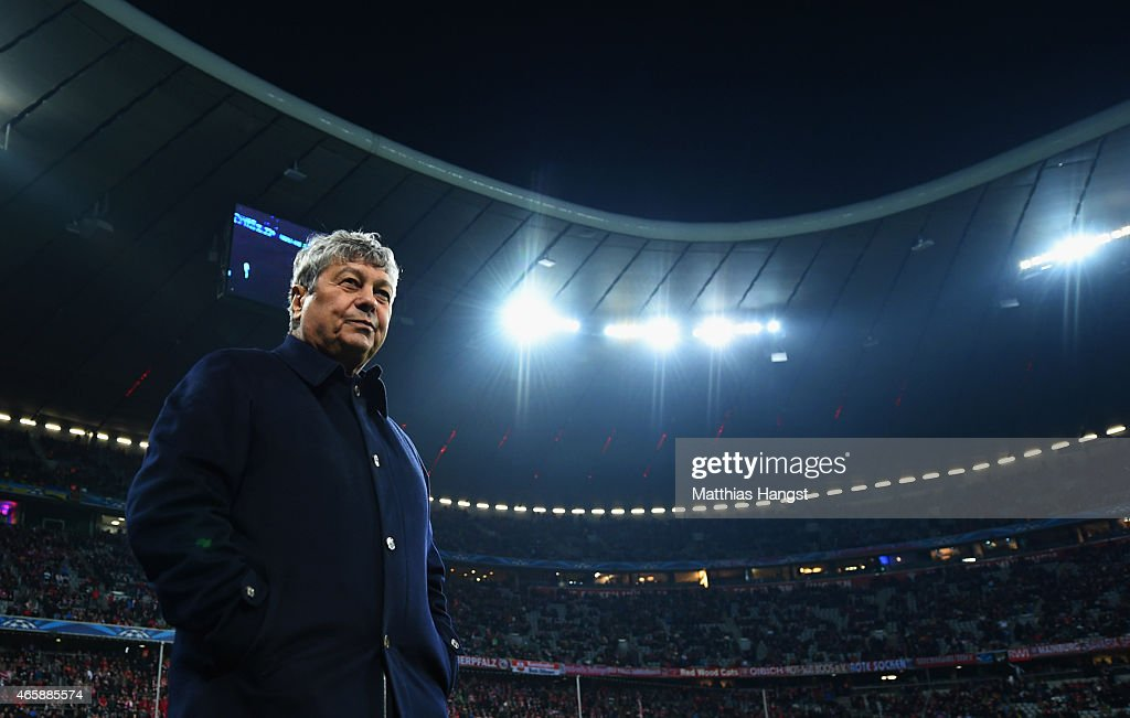 <a gi-track='captionPersonalityLinkClicked' href=/galleries/search?phrase=Mircea+Lucescu&family=editorial&specificpeople=5511022 ng-click='$event.stopPropagation()'>Mircea Lucescu</a> head coach of Shakhtar Donetsk looks on prior to the UEFA Champions League Round of 16 second leg match between FC Bayern Muenchen and FC Shakhtar Donetsk at Allianz Arena on March 11, 2015 in Munich, Germany.