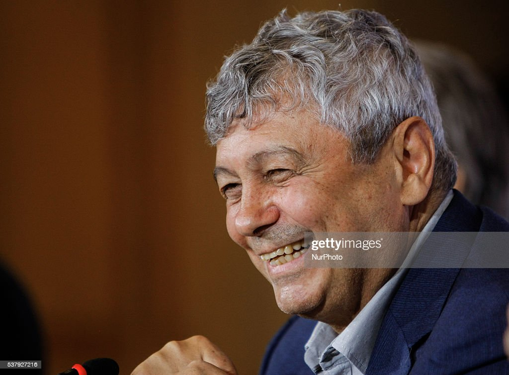 <a gi-track='captionPersonalityLinkClicked' href=/galleries/search?phrase=Mircea+Lucescu&family=editorial&specificpeople=5511022 ng-click='$event.stopPropagation()'>Mircea Lucescu</a> laughs during his first press conference as head coach of FC Zenit St. Petersburg on June 3, 2016 in Saint Petersburg.