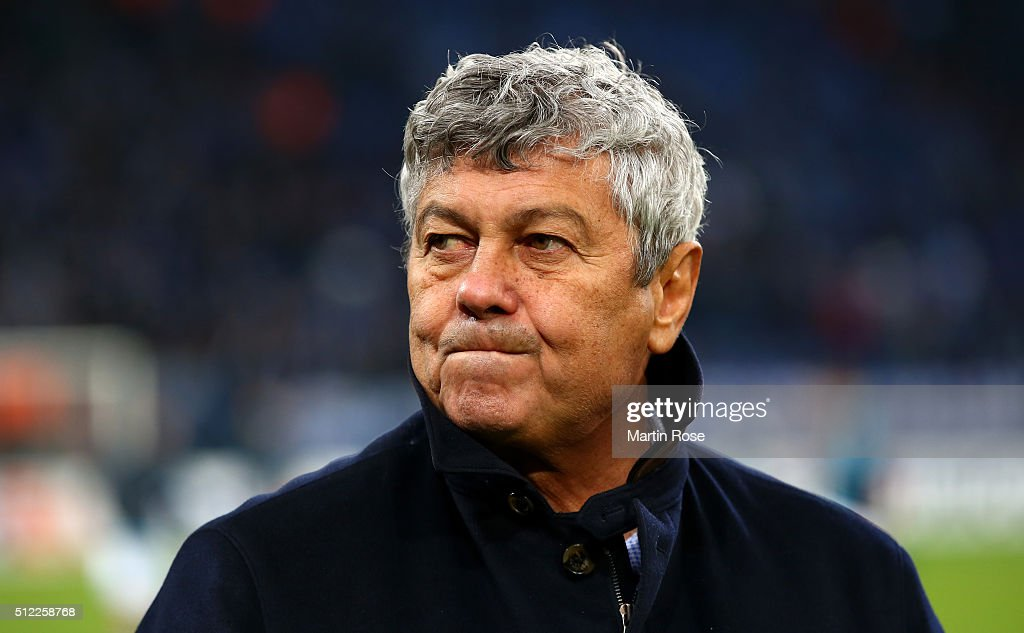 <a gi-track='captionPersonalityLinkClicked' href=/galleries/search?phrase=Mircea+Lucescu&family=editorial&specificpeople=5511022 ng-click='$event.stopPropagation()'>Mircea Lucescu</a> manager of Shakhtar Donetsk looks on prior to the UEFA Europa League round of 32 second leg match between FC Schalke 04 and Shakhtar Donetsk at Veltins-Arena on February 25, 2016 in Gelsenkirchen, Germany.