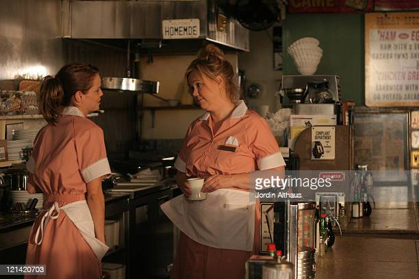 Mircea Monroe and Caroline Rhea during On Location for 'Fast Girl' December 16 2006 at Way Station Coffee Shop in Newhall California United States