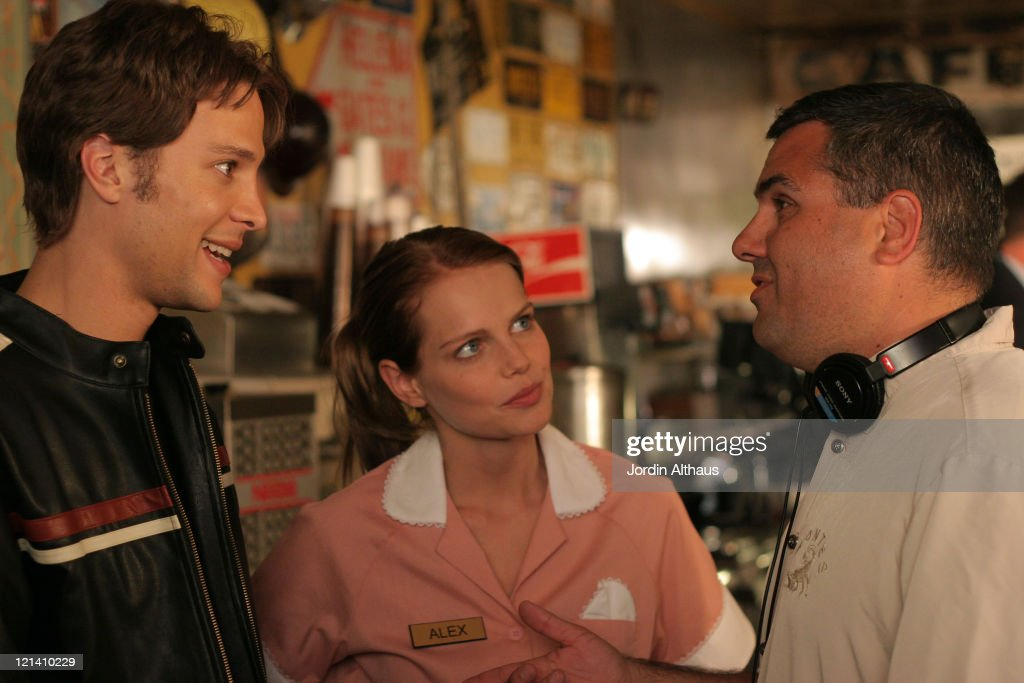 Mircea Monroe Justin Guarini and Daniel Zirilli during On Location for 'Fast Girl' December 16 2006 at Way Station Coffee Shop in Newhall California...