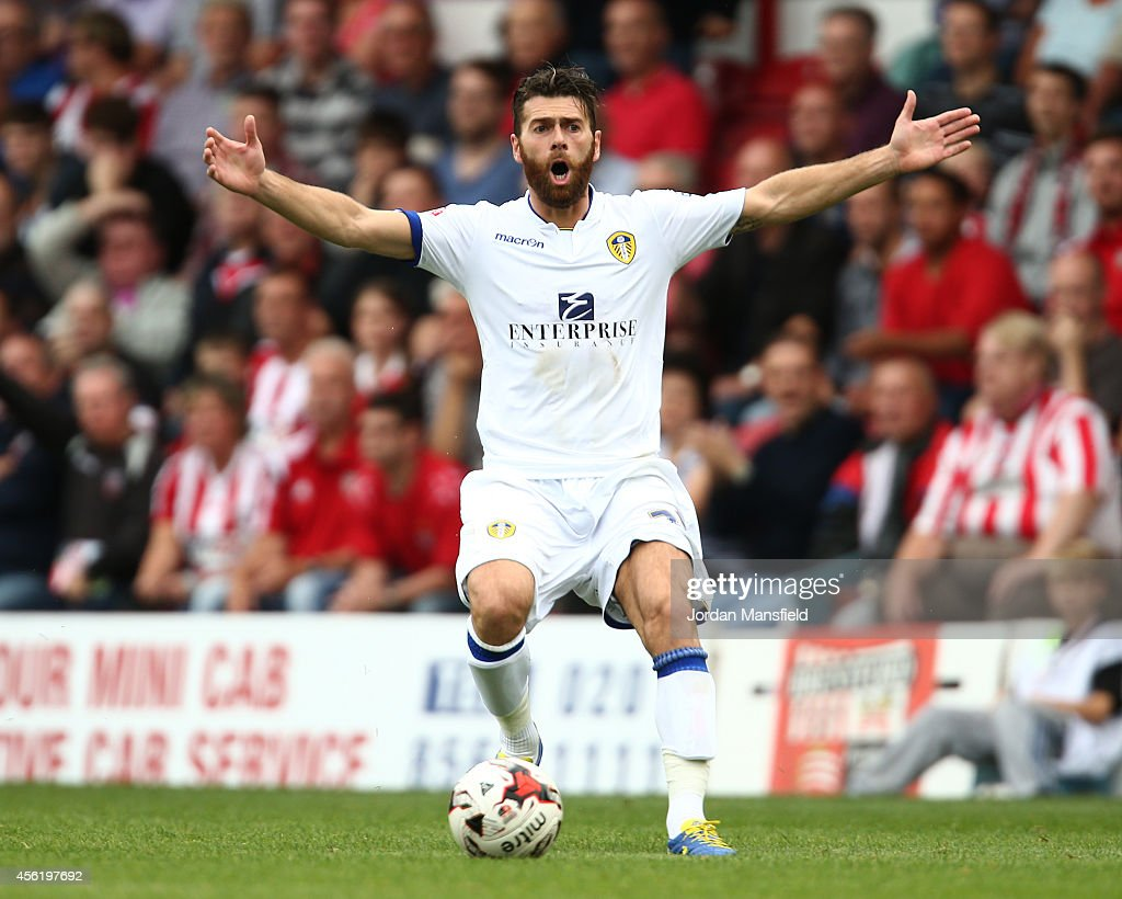 Mirco Antenucci of Leeds reacts to a decision during the Sky Bet Championship match between Brentford and Leeds United at Griffin Park on September...