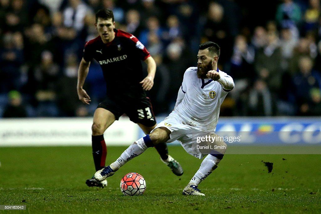 Mirco Antenucci of Leeds United FC controls the ball over Richard Smallwood of Rotherham United FC during The Emirates FA Cup Third Round match between Leeds United and Rotherham United at Elland Road on January 9, 2016 in Leeds, England.