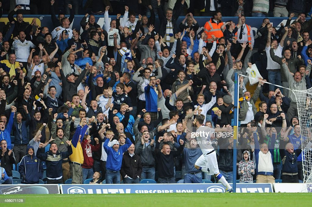 Mirco Antenucci of Leeds United scores celebrates his goal in front of fans during Sky Bet Championship match between Leeds United and Huddersfield...