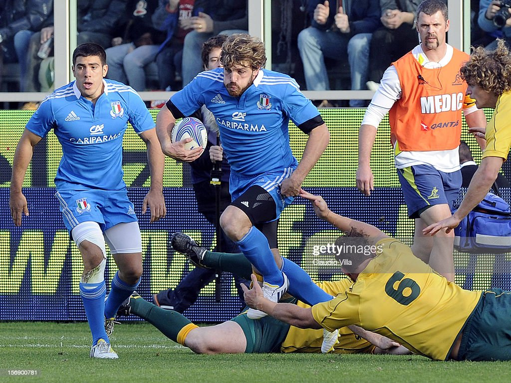 <a gi-track='captionPersonalityLinkClicked' href=/galleries/search?phrase=Mirco+Bergamasco&family=editorial&specificpeople=572161 ng-click='$event.stopPropagation()'>Mirco Bergamasco</a> of Italy (C) during the international rugby test match between Italy and Australia at Artemio Franchi on November 24, 2012 in Florence, Italy.
