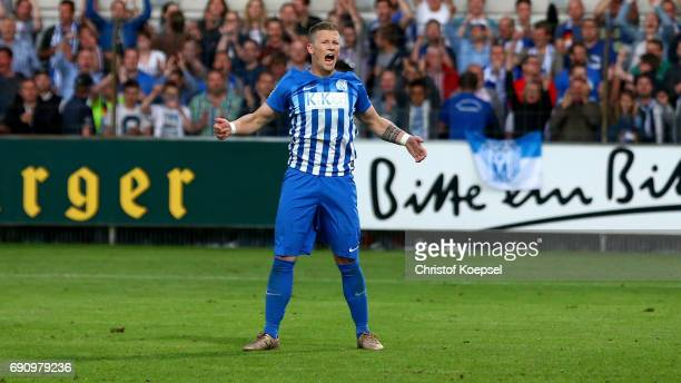 Mirco Born of Meppen scores the decision penalty during the penalty shootout of the Relegation Regionalliga Play Off second leg match at Hensch Arena...