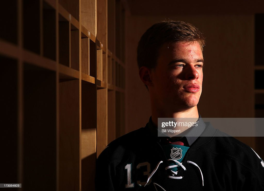 Mirco Mueller, 18th pick overall by the San Jose Sharks, poses for a portrait during the 2013 NHL Draft at Prudential Center on June 30, 2013 in Newark, New Jersey.