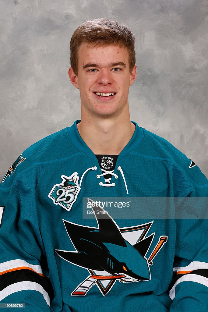 Mirco Mueller of the San Jose Sharks poses for his official headshot for the 2015-16 season on September 17, 2015 at Sharks Ice in San Jose, California.