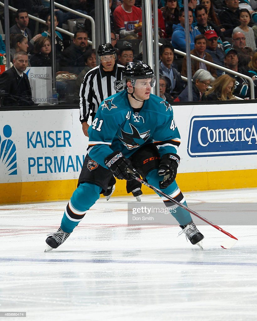 Mirco Mueller #41 of the San Jose Sharks skates after the puck against the Montreal Canadiens at the SAP Center on March 2, 2015 in San Jose, California.