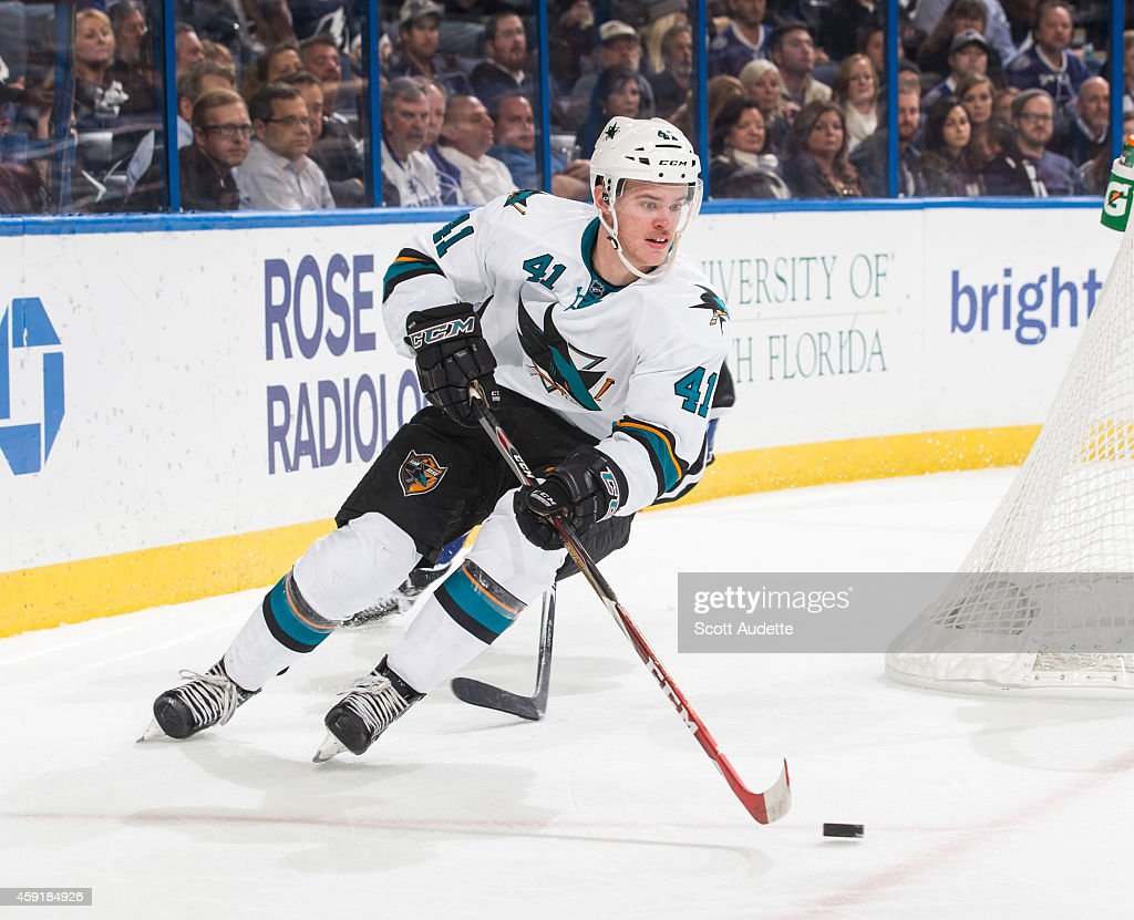 Mirco Mueller #41 of the San Jose Sharks skates against the Tampa Bay Lightning at the Amalie Arena on November 13, 2014 in Tampa, Florida.