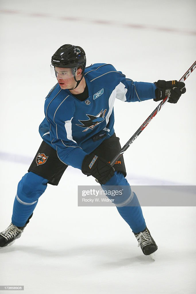 Mirco Mueller of the San Jose Sharks skates on the ice during the Sharks Prospect Summer Scrimmage at the San Jose Sharks practice facility on July 11, 2013 in San Jose, California.