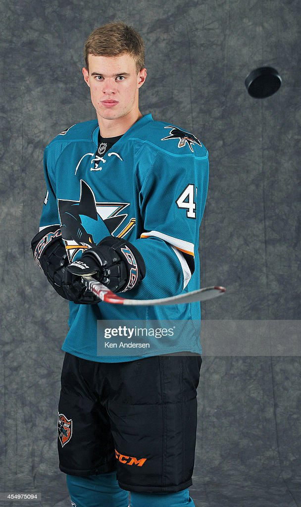 Mirco Muller of the San Jose Sharks poses for an NHLPA - The Players Collection portrait at the Mattamy Sports Center on August 23, 2014 in Toronto, Ontario, Canada.