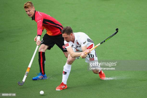 Mirco Pruijser of AH BC Amsterdam battles for the ball with Joep De Mol of HC OranjeRood during the Euro Hockey League KO16 match between HC...