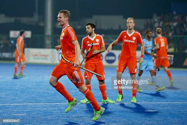 Mirco Pruijser of Netherlands celebrates after he scores during the match between Netherlands and India on day four of The Hero Hockey League World...
