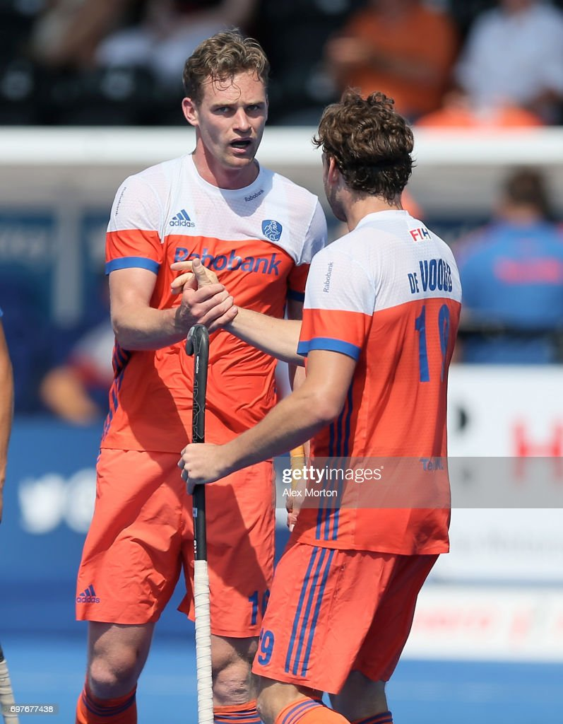 Mirco Pruijser of the Netherlands celebrates scoring his teams third goal with teammate Bob de Voogd during the Hero Hockey World League Semi-Final match between Netherlands and Canada at Lee Valley Hockey and Tennis Centre on June 19, 2017 in London, England.