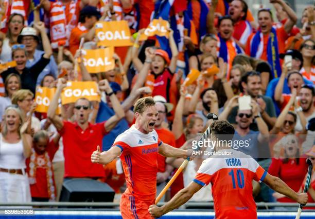 Mirco Pruyser of The Netherlands celebrates after scoring during the Men's EuroHockey Championships 2017 final between the Netherlands and Belgium in...