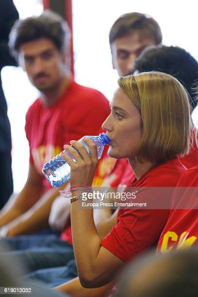 Mireia Belmonte and Javier Hernanz attend the homage from Spanish Olympic Committee to Spanish Olympic medalists in Rio 2016 on September 27 2016 in...