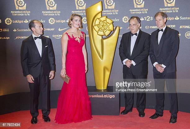 Mireia Belmonte and Javier Tebas attend the LFP Soccer Awards Gala 2016 at Palacio de Congresos on October 24 2016 in Valencia Spain