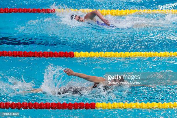 Mireia Belmonte from Spain and Kristel Kobrich from Chile compete during the Women's 800m Freestyle Final of the the FINA/airweave Swimming World Cup...