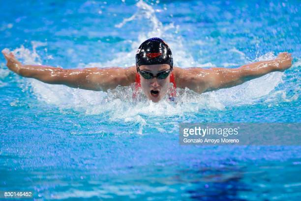 Mireia Belmonte from Spain competes during the Women's 200m Buterfly of the the FINA/airweave Swimming World Cup Eindhoven 2017 at Pieter van den...
